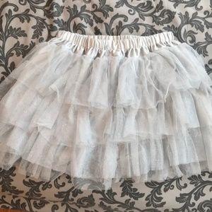 Silver Sparkly Tulle Ballerina Tutu Skirt